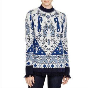 TORY BURCH NWT Tapestry Wool Jacquard Sweater Sz L